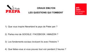 ORAUX EMLYON : 20 QUESTIONS DÉJÀ TOMBÉES POUR VOUS ENTRAINER