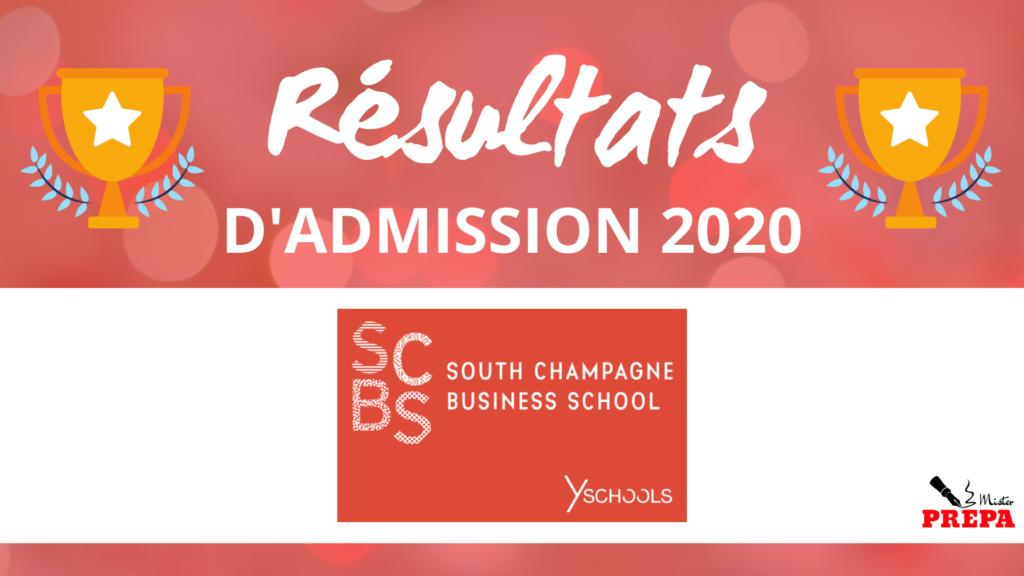 Résultats d'admission SCBS 2020