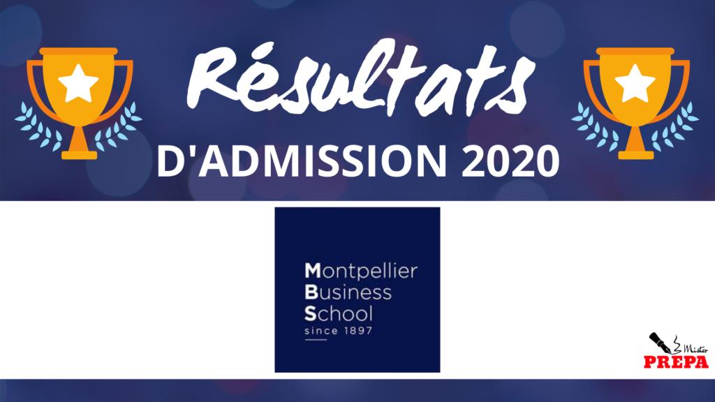 Résultats d'admission Montpellier BS 2020