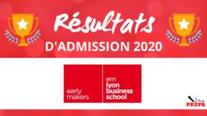Résultats d'admission emlyon bs 2020
