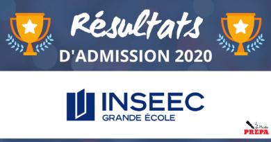 Résultats d'admission INSEEC GE 2020