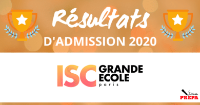 Résultats d'admission ISC Paris 2020