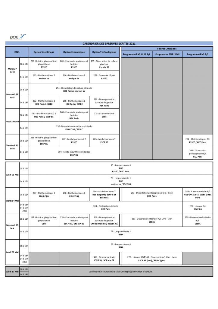 Calendrier Concours 2021 Cpge CONCOURS 2021 : CALENDRIER ECRICOME ET BCE   Mister Prépa