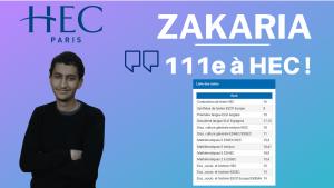 Zakaria – classé 111ème à HEC Paris en 2020 !