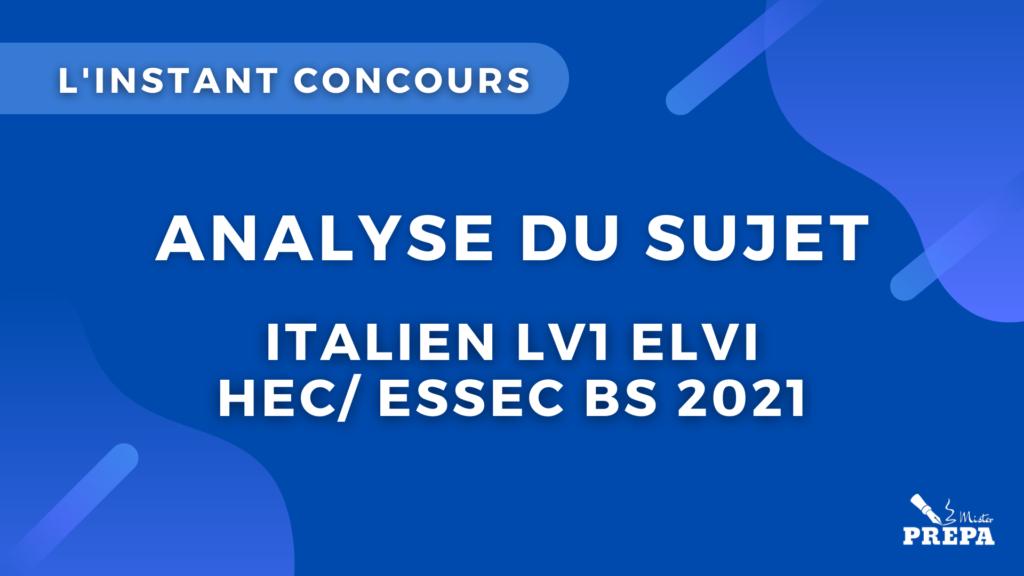 italien LV1 analyse du sujet concours bce 2021