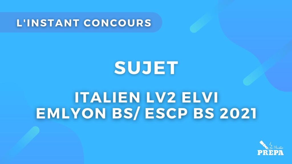 italien ELVI 2 concours 2021 sujet