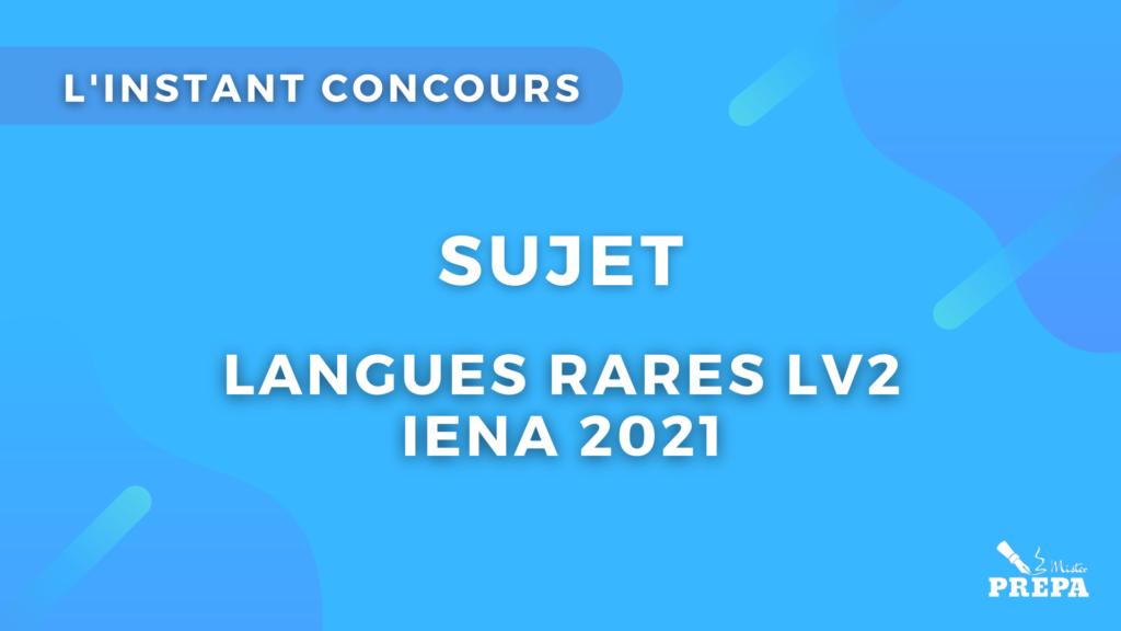 langues rares concours 2021 sujet IENA