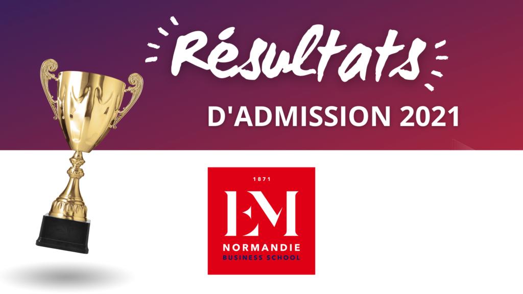 Résultats admission EM Normandie 2021